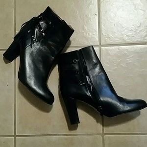 HALOGEN Leather black tassled booties 11